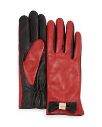 kate spade new york | Red Leather Bow Tech Gloves | Lyst