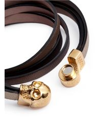 Alexander McQueen Metallic Triple Strap Leather Skull Bracelet