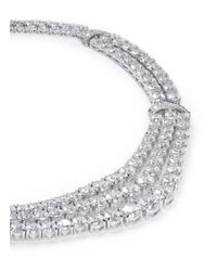 CZ by Kenneth Jay Lane | Metallic Round Cut Cubic Zirconia Layer Necklace | Lyst