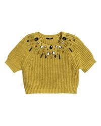 H&M - Yellow Jumper With Beaded Embroidery - Lyst