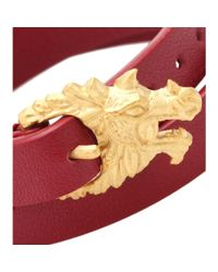 Valentino Red Dragon Leather Wrap Bracelet