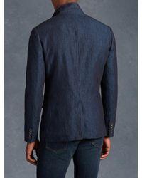 John Varvatos - Blue Linen Cotton Jacket With Wire Insert for Men - Lyst