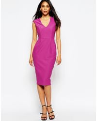 ASOS - Purple Wiggle Dress With V Neck In Textured Jersey - Lyst