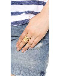 Rebecca Minkoff - Metallic Rectangle Metal Stud Ring Gold - Lyst
