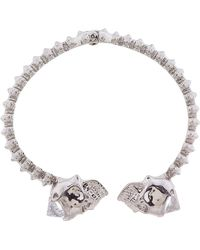 Alexander McQueen - Metallic Silver Stud and Skull Hinged Bangle - Lyst