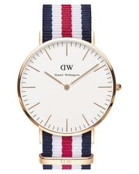 Daniel Wellington Blue 'classic Canterbury' Nato Strap Watch