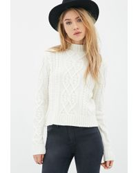 Forever 21 | Natural Cable Knit Mock-neck Sweater | Lyst