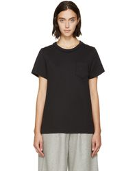 YMC Black Ruffle Trim T_shirt