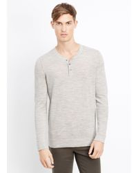 Vince | Gray Wool Linen Jaspé Henley Sweater for Men | Lyst