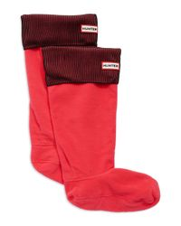 HUNTER | Pink Ribbed Boot Socks | Lyst