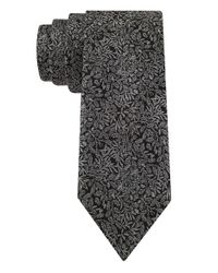 Calvin Klein | Black Silk-Blend Leaf Patterned Tie for Men | Lyst