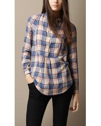 Burberry | Blue Bib Detail Check Linen Cotton Tunic | Lyst