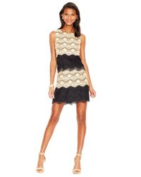 Jessica Simpson - Natural Tiered Lace Cocktail Dress - Lyst