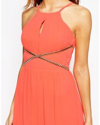 Lipsy | Orange High Neck Maxi Dress With Chain Waist Detail | Lyst