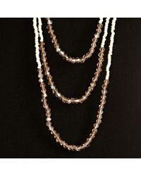 John Lewis Natural Six Row Seed and Facet Bead Long Necklace