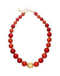 Lauren by Ralph Lauren - Red Graduated Coral Bead Strand Necklace - Lyst