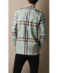 Burberry | Blue Check Stretch Cotton-blend Shirt for Men | Lyst
