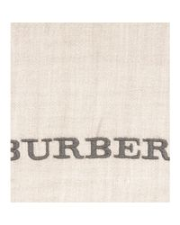 Burberry | Gray Embroidered Cashmere Scarf | Lyst
