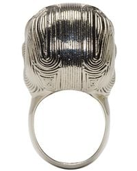 Alexander McQueen - Metallic Silver Etched Diamante Skull Ring for Men - Lyst