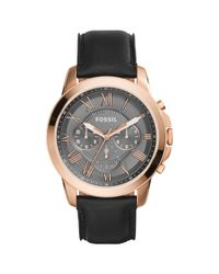 Fossil Black Men's Grant Chronograph Leather Strap Watch for men