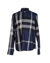 Burberry Brit Blue Fred Exploded Check Button-Down Cotton Shirt for men