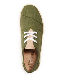 TOMS Green Paseo Canvas Lace-Up Sneakers for men