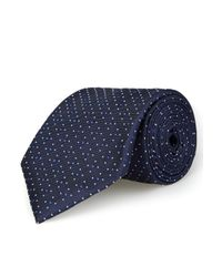 Moss Esq. - Navy And Blue Micro Dot Silk Tie for Men - Lyst