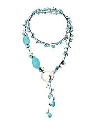 Aeravida | Blue Pretty White Pearl Tq Mop Long Wrap Around Necklace | Lyst