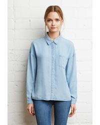 Forever 21 | Blue Boxy Collared Chambray Shirt | Lyst