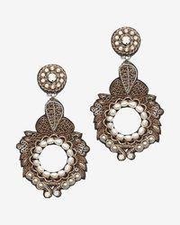 Ranjana Khan - Metallic Gold/pearl Round Drop Earrings - Lyst