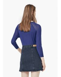 Mango - Blue Fine-knit Sweater - Lyst