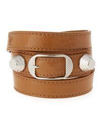 Balenciaga | Brown Giant 12 Leather Wrap Bracelet | Lyst