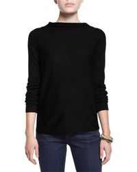 Eileen Fisher - Black Ultrafine Merino Draped-neck Top - Lyst