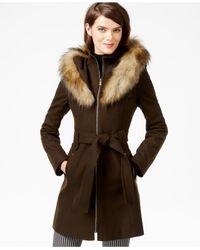 RACHEL Rachel Roy Green Faux-fur-hood Belted Walker Coat