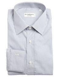 Saint Laurent - Gray Grey And White Mini Check Cotton Point Collar Dress Shirt for Men - Lyst
