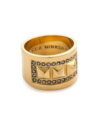 Rebecca Minkoff - Metallic Curbs Stud Ring - Gold/jet - Lyst