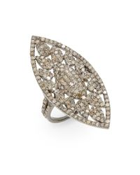 Bavna | Metallic 2.85 Tcw Champagne Diamond & Sterling Silver Marquis Ring | Lyst