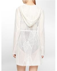 Calvin Klein - White Label Mesh Hooded Cover Up - Lyst