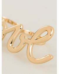 Lanvin | Metallic 'love' Double Ring | Lyst