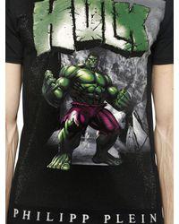 Philipp Plein Black Hulk Printed Cotton T-Shirt for men