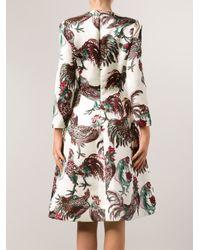 Rochas - White Rooster Dress - Lyst