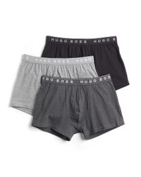 BOSS Gray Solid Cotton Boxer Briefs Set Of 3 for men