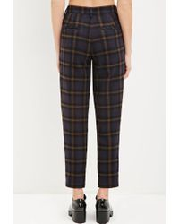 Forever 21 Blue Tartan Plaid Trousers