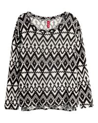 H&M | Black Knitted Jumper With Fringes | Lyst