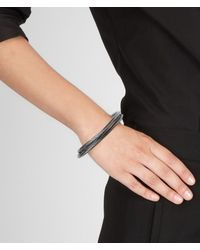 Bottega Veneta - Metallic Intrecciato Oxydized Silver Bracelet - Lyst