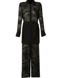 Giuliana Romanno | Black Sheer Devore Maxi Dress | Lyst