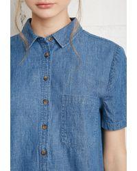 Forever 21 - Blue Denim Shirt Dress - Lyst