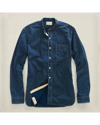 RRL | Blue Bandedcollar Railman Shirt for Men | Lyst