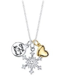 Macy's - Metallic Inspirational Snowflake One Of A Kind Pendant Necklace In Sterling Silver - Lyst