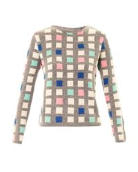 Chinti & Parker   Gray Grid Cashmere Sweater   Lyst